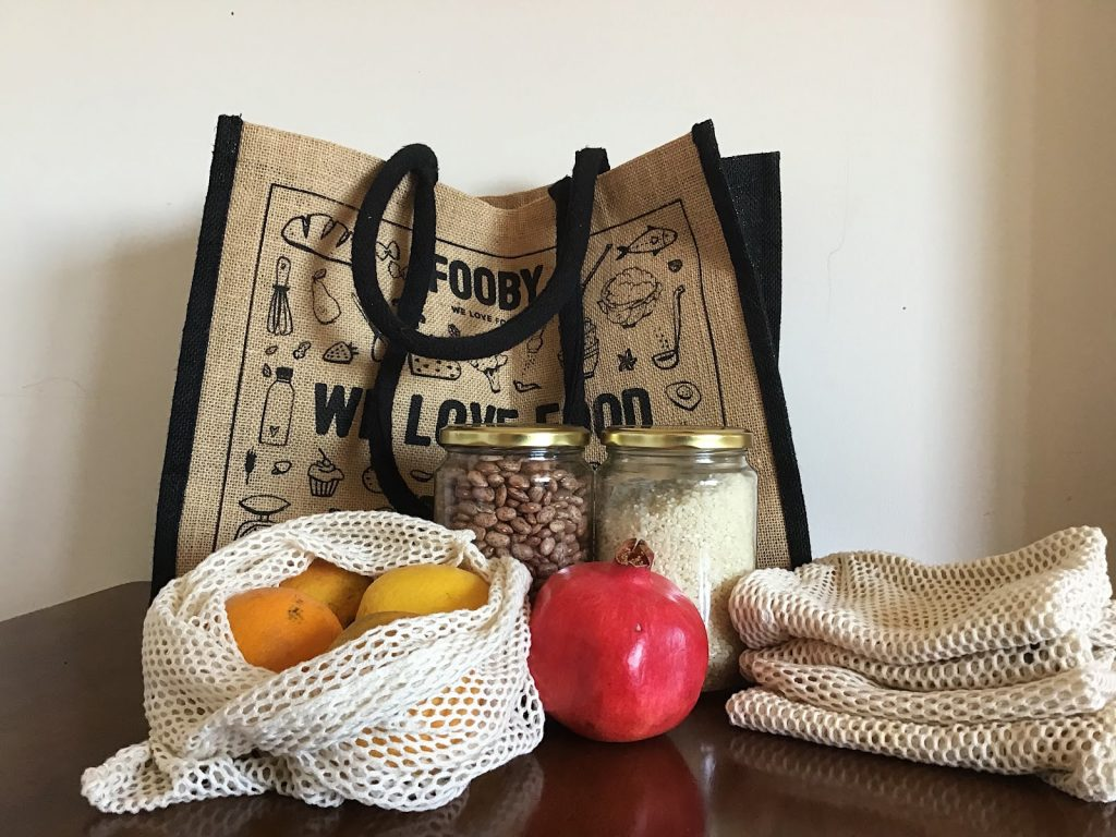 zero waste grocery tote bag